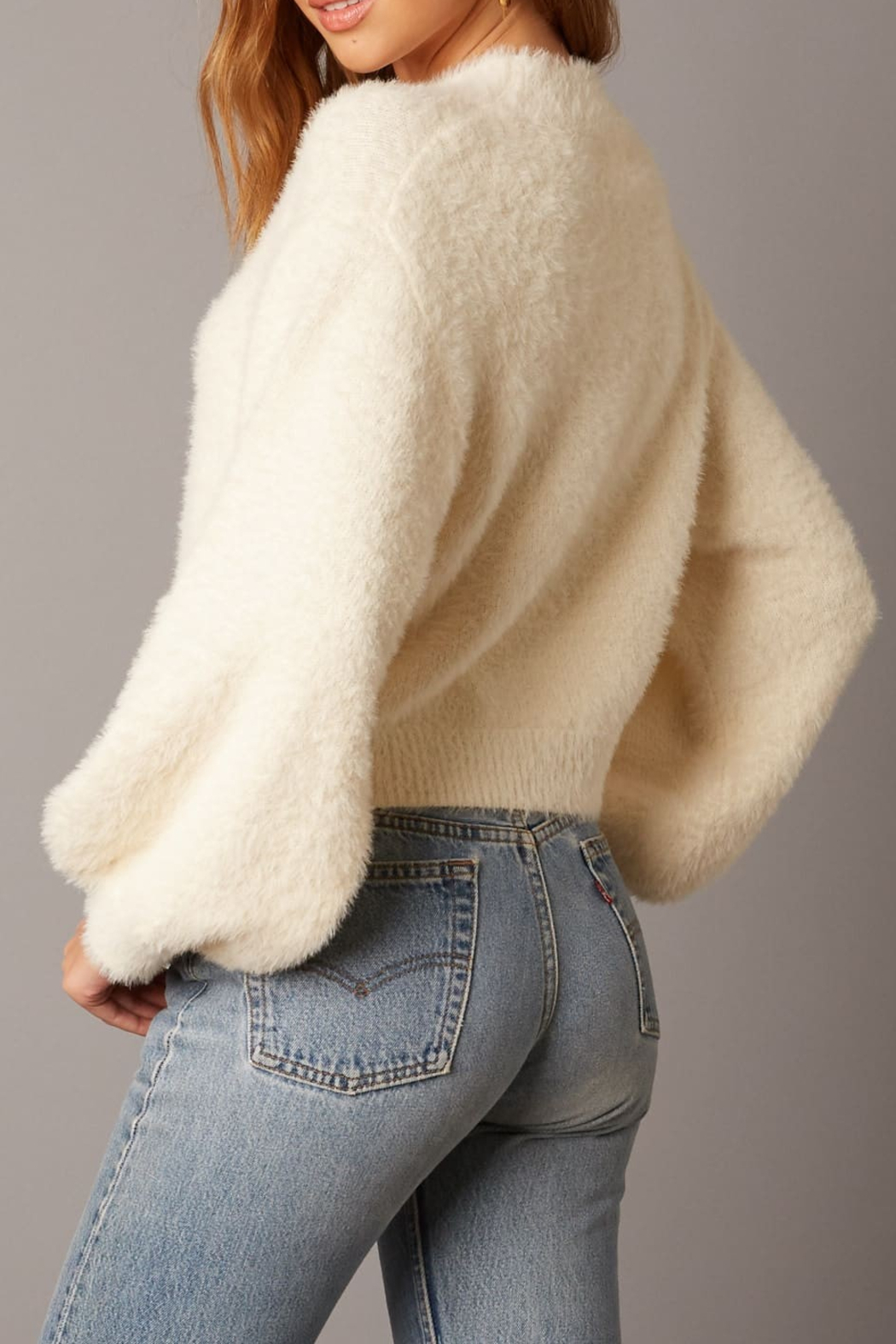 Cotton Candy LA Fuzzy Sweater Ivory - Back Cropped Image