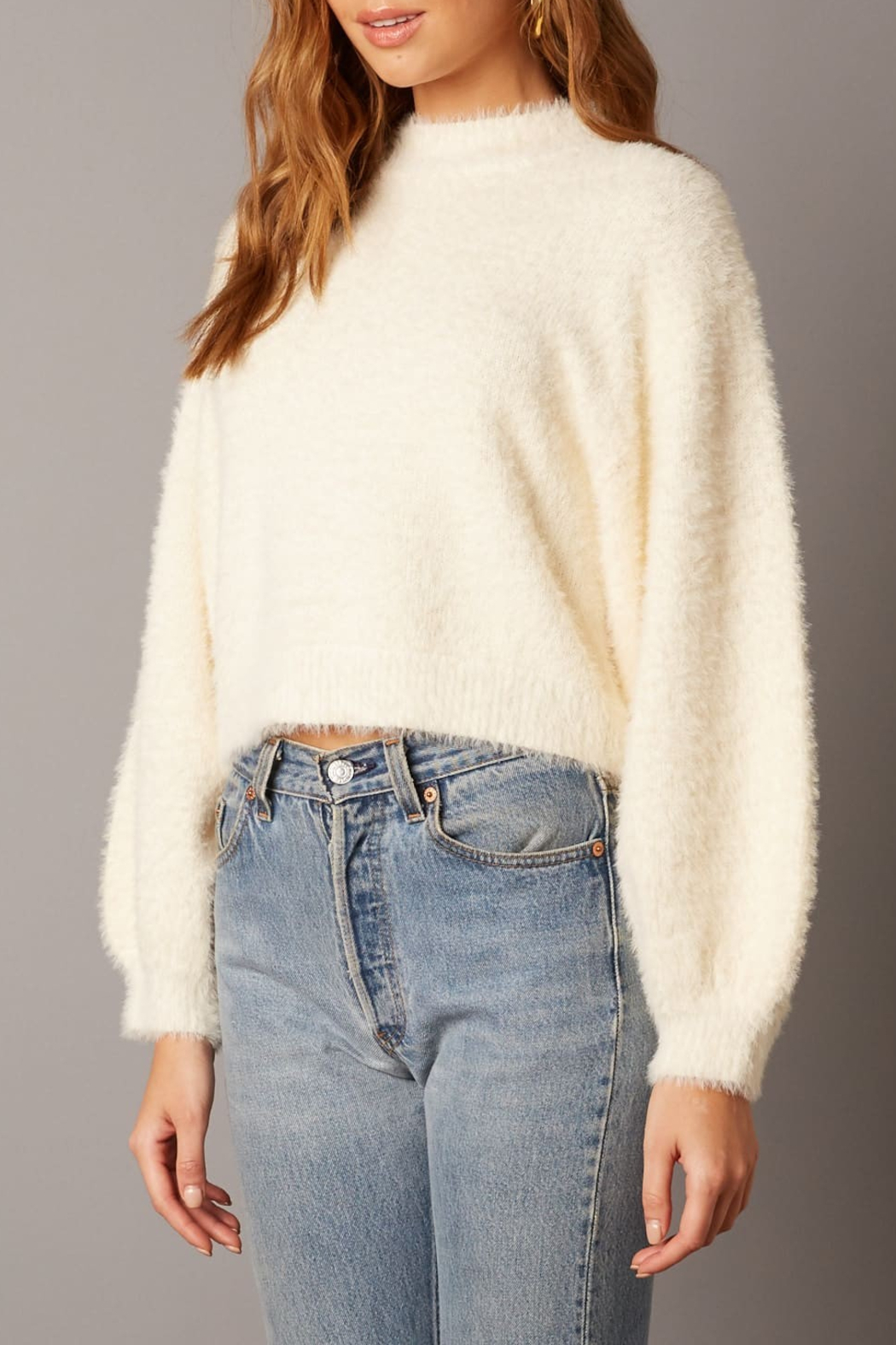 Cotton Candy LA Fuzzy Sweater Ivory - Side Cropped Image