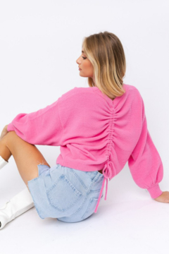 Le Lis Fuzzy Sweater with Back Ruching - Product List Image