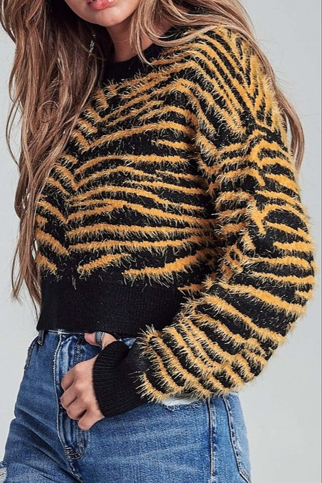 AGP Apparel Fuzzy Tiger Sweater - Side Cropped Image