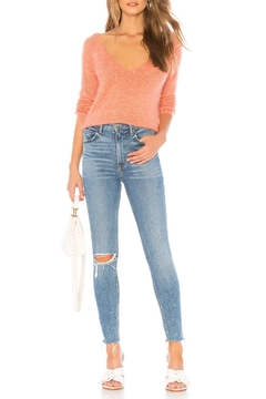 MinkPink Fuzzy V-Neck Sweater - Alternate List Image