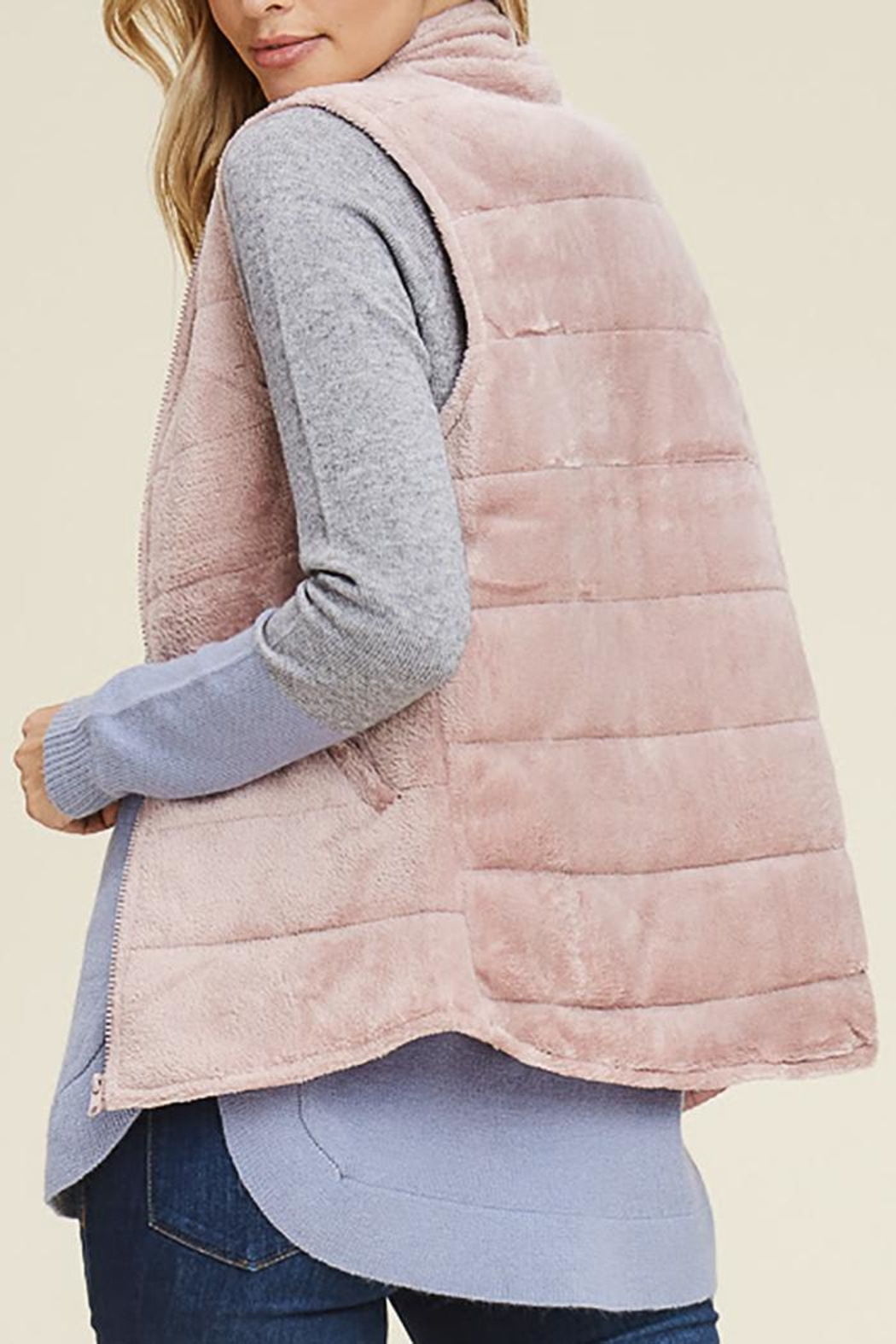 Staccato Fuzzy Velour Vest - Front Full Image