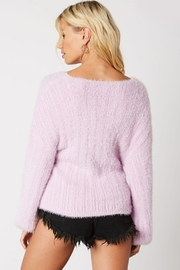 Cotton Candy Fuzzy Wrap Sweater - Front full body