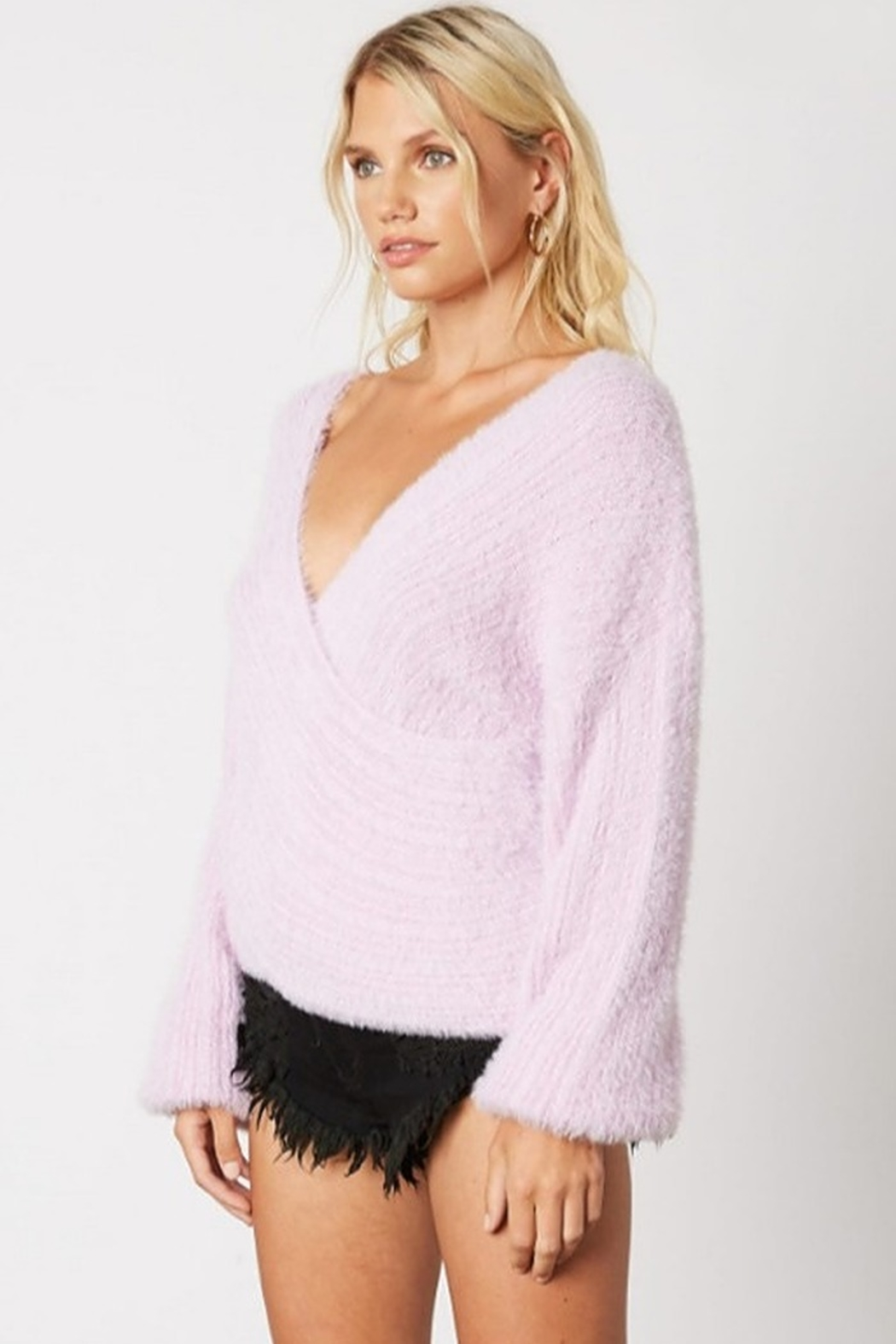 Cotton Candy Fuzzy Wrap Sweater - Side Cropped Image