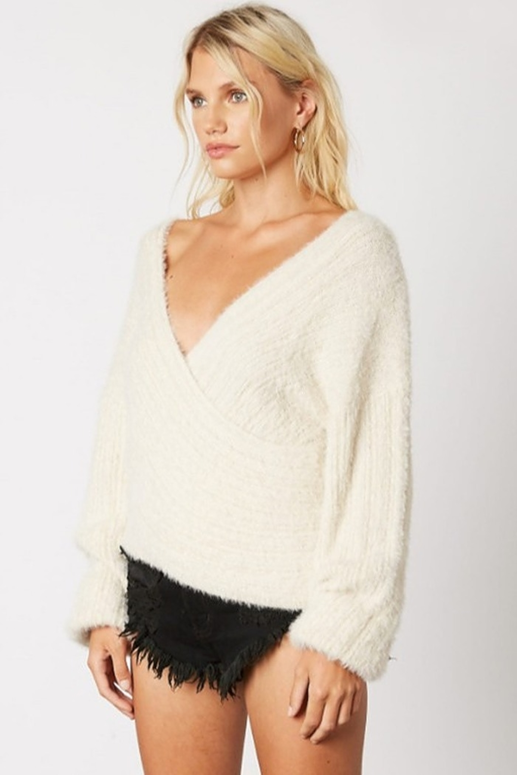 Cotton Candy Fuzzy Wrap Sweater - Front Full Image