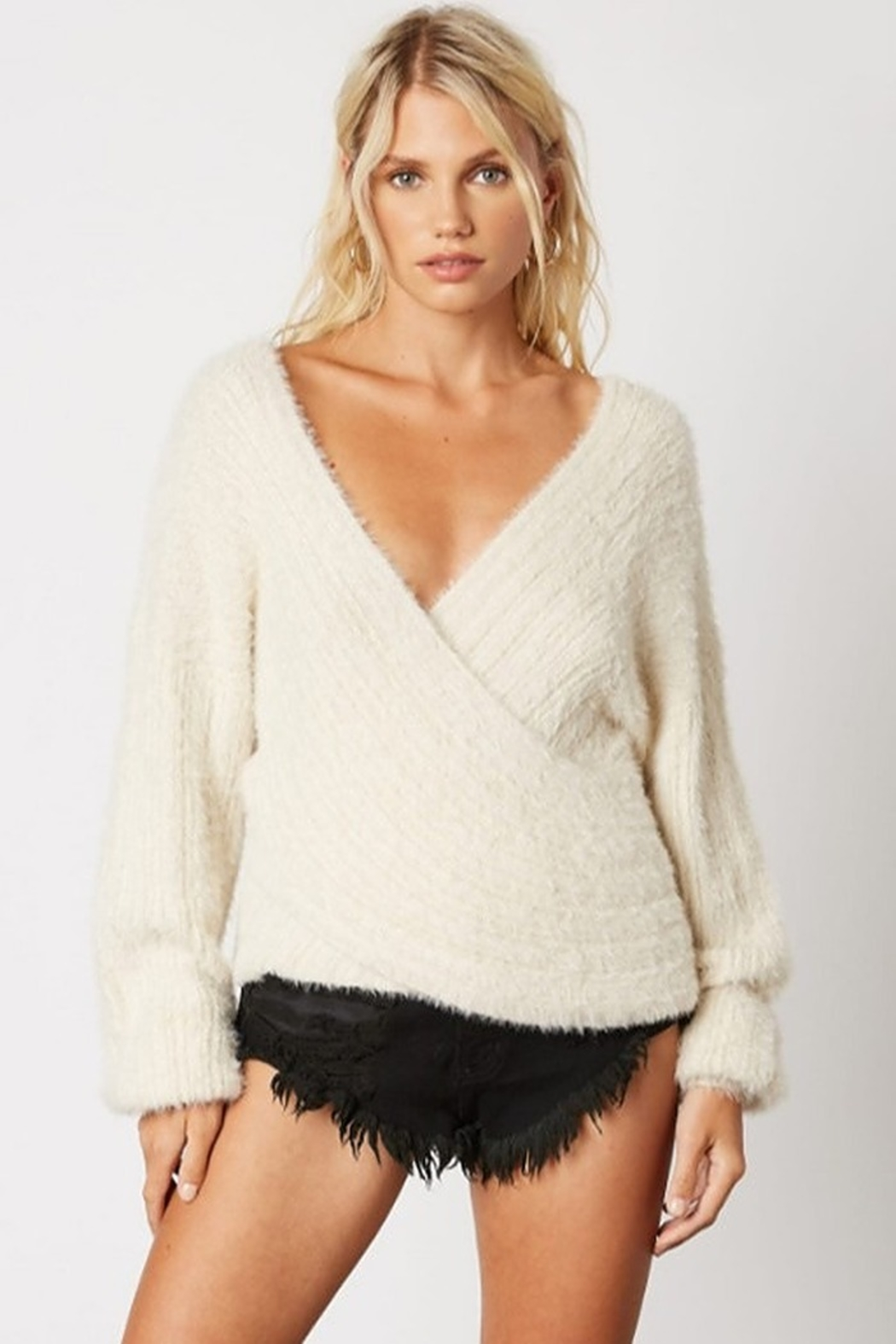 Cotton Candy Fuzzy Wrap Sweater - Front Cropped Image