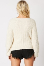 Cotton Candy Fuzzy Wrap Sweater - Side cropped
