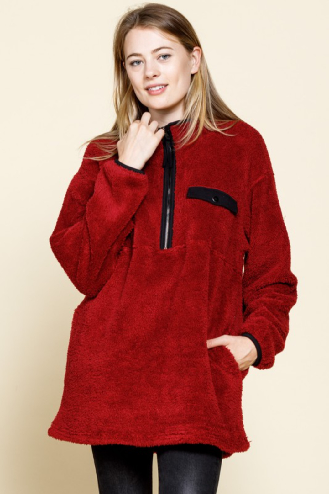 Mittoshop Fuzzy Zip Up Pullover - Side Cropped Image