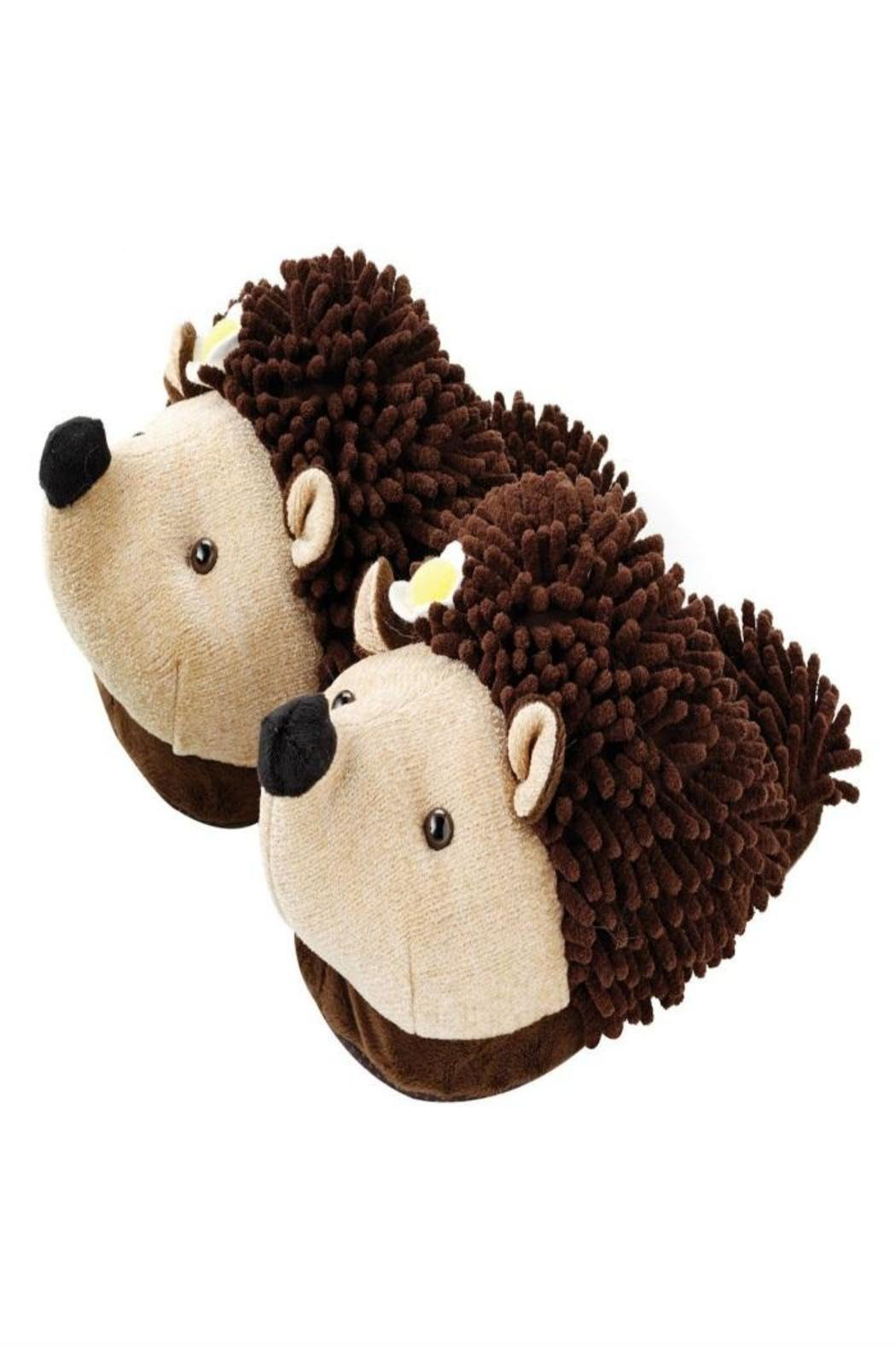 Fuzzy Friends Hedgehog Slippers - Front Full Image