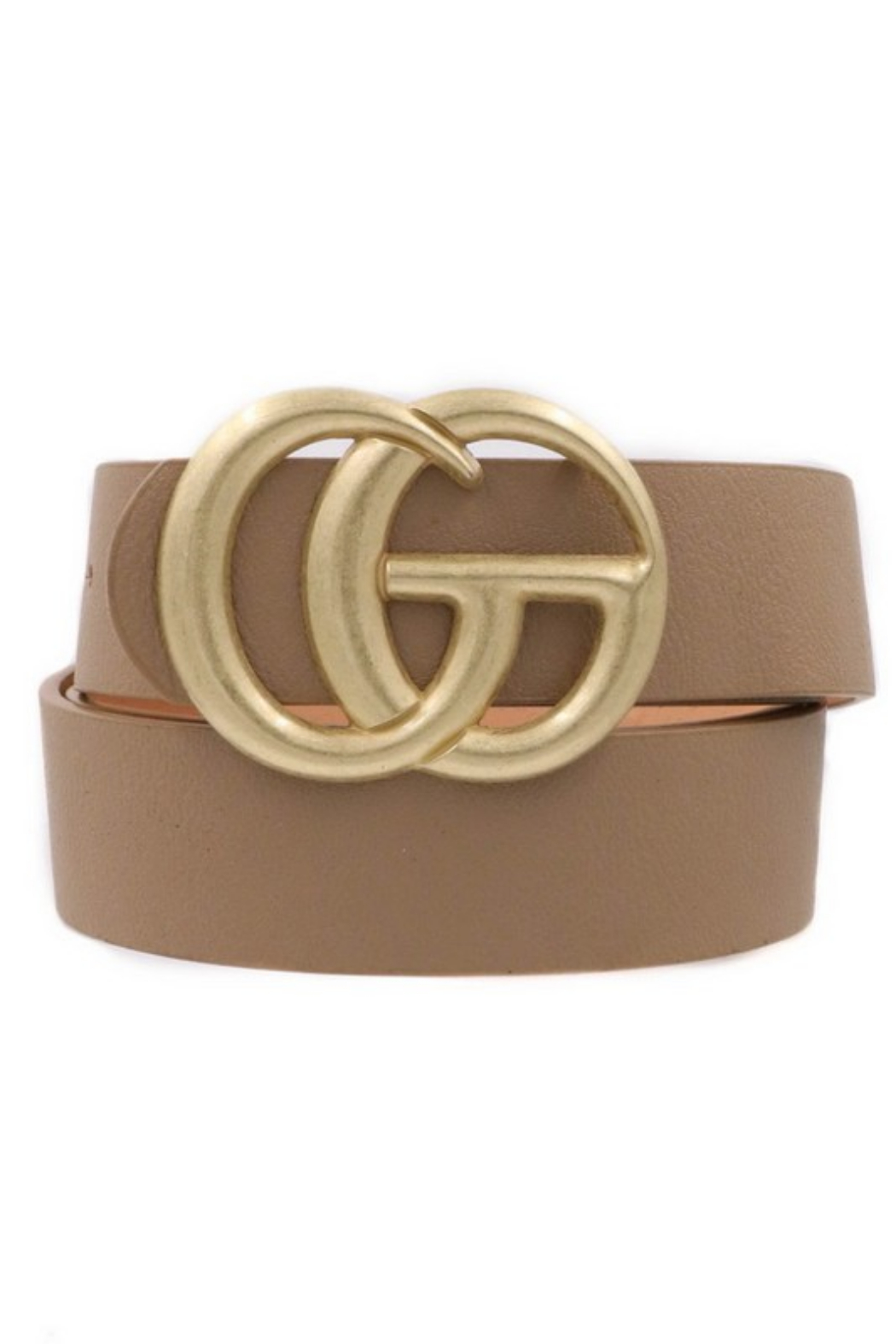 Art Box G Vegan Leather Double Buckle Belt - Front Cropped Image