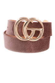 Art Box G Vegan Leather Double Buckle Belt - Front cropped