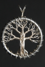 G Gallery & Glass Studio Silver Tree Pendant - Front cropped