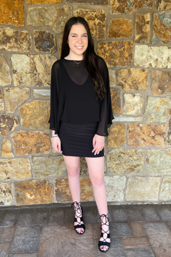 Analili Gabby Sheer Overlay Dress from New Jersey by Charlotte's Web Towaco — Shoptiques