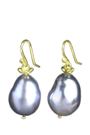 Gabrielle Sanchez Dark Grey Tahitian Baroque Pearl Smooth Seed Earwire 18k - Product Mini Image