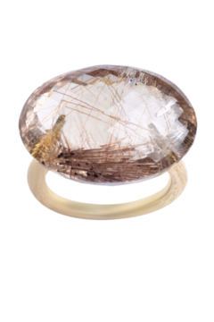 Gabrielle Sanchez Faceted Oval Red Rutilated Quartz Twig Ring 23x16.8mm - Alternate List Image