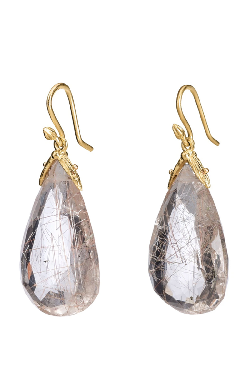 Gabrielle Sanchez Faceted Oval Rutilated Quartz Petal Earring 14x18x6mm, 18k - Main Image
