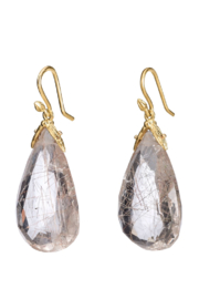 Gabrielle Sanchez Faceted Oval Rutilated Quartz Petal Earring 14x18x6mm, 18k - Front cropped