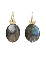Gabrielle Sanchez flat Faceted Oval Labradorite Smooth Seed Earwire 19x7x6, 18k - Product Mini Image
