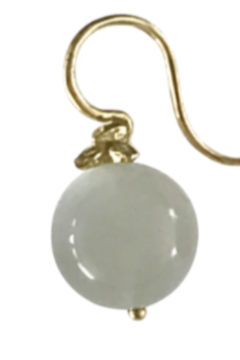 Gabrielle Sanchez Smooth Green Moonstone Flyer Earwire 12mm, 18k - Product List Image