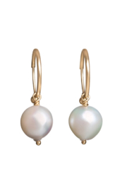 Gabrielle Sanchez White Japanese Baroque Pearl Endless Hoops 8-9mm, 14k - Front cropped