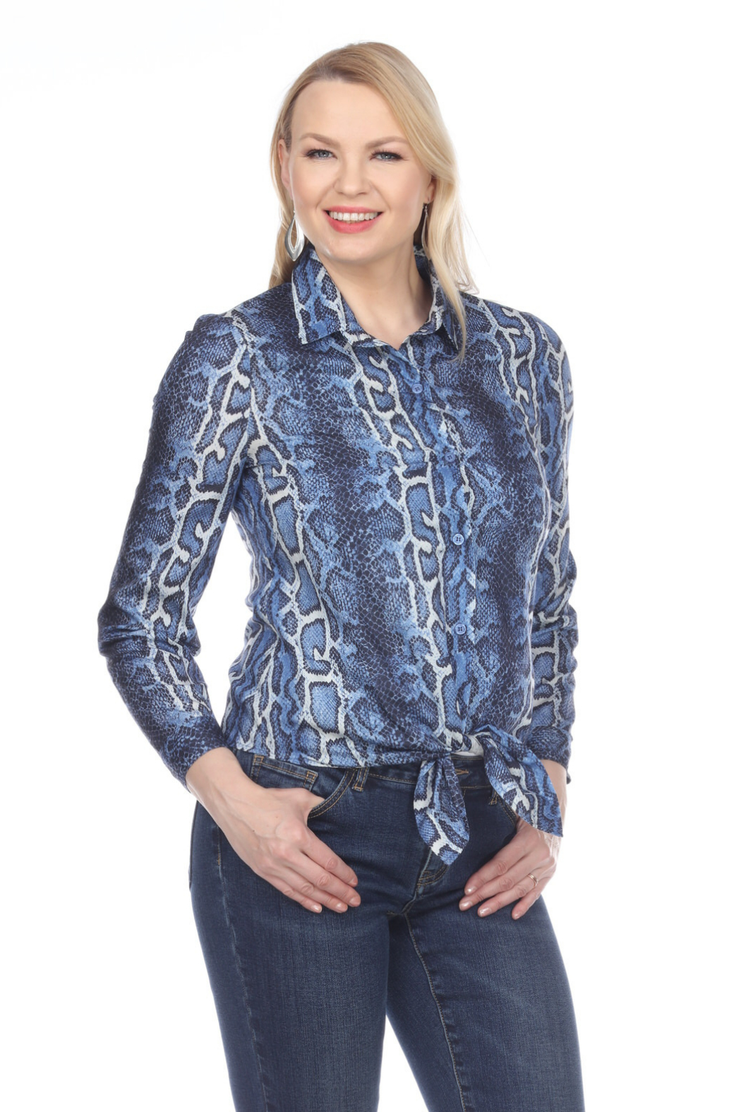 AZI Gail Animal Print Tie Bottom Blouse - Front Cropped Image