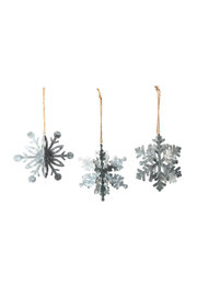 DEI Galvanized Snowflake Ornament Med - Front cropped