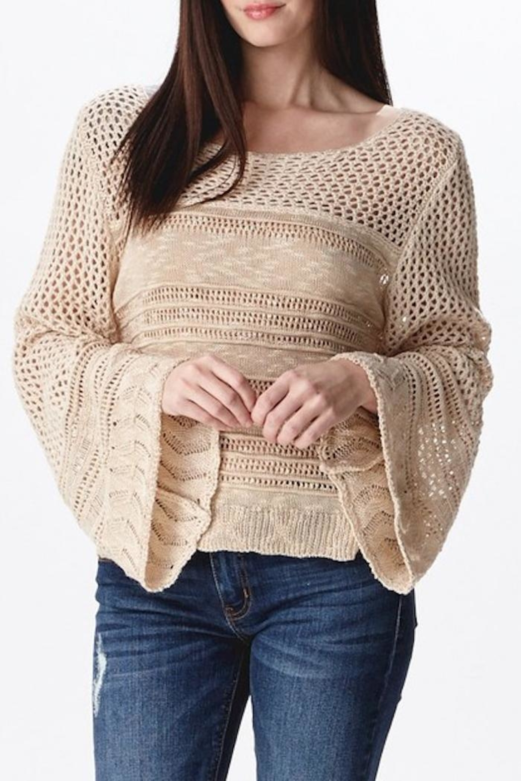 Ganji LA Neutral Beige Sweater - Front Full Image