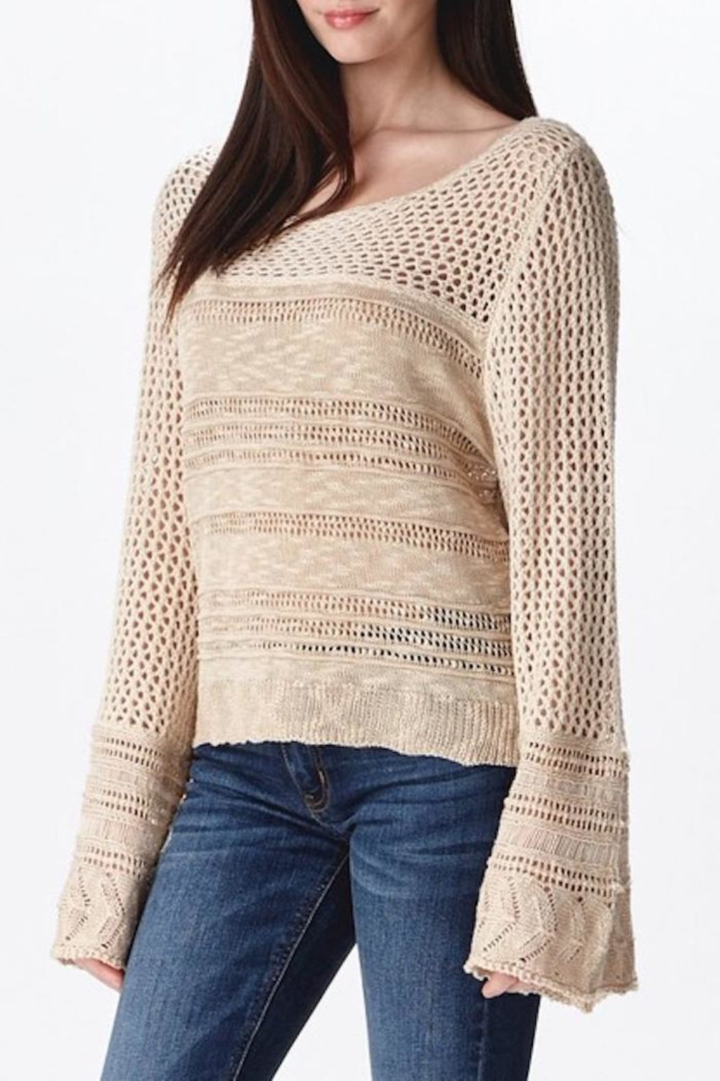 Ganji LA Neutral Beige Sweater - Side Cropped Image