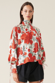 Ganni Oversized Silk Stretch Satin Blouse - Front cropped