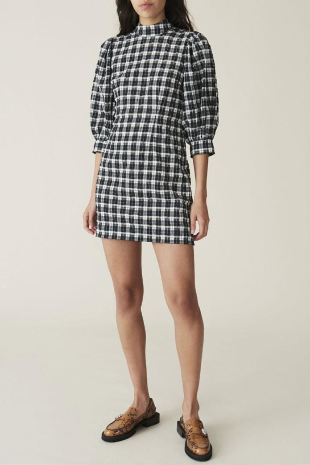 Ganni Seersucker Check Mini-Dress - Front Cropped Image