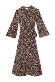 Ganni Wrap Dress Decedant Chocolate - Product Mini Image