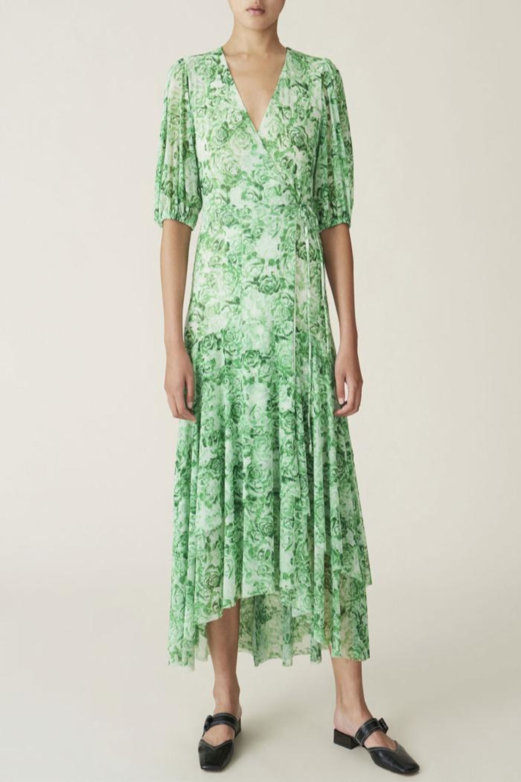 Ganni Wrap Dress Island Green - Main Image