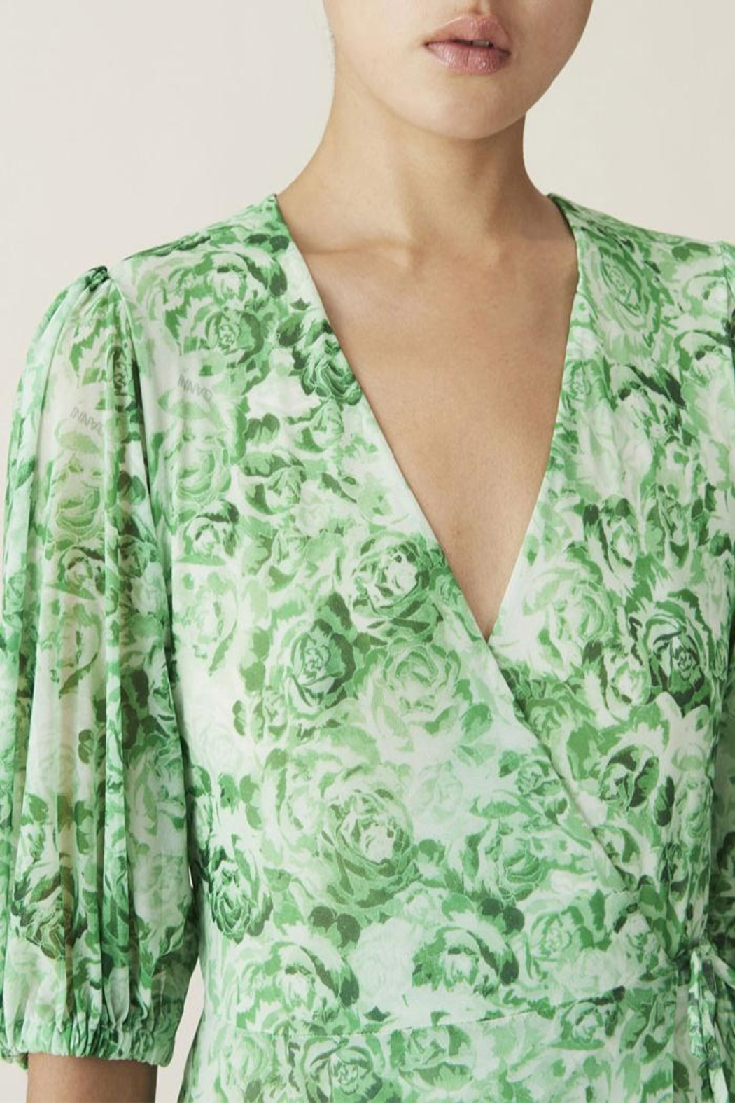 Ganni Wrap Dress Island Green - Side Cropped Image
