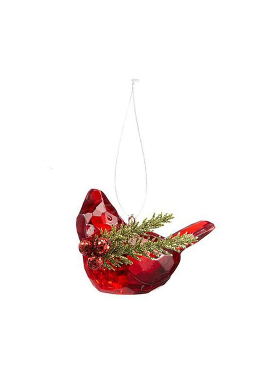 Ganz Cardinal W/mistletoe Ornament - Front Cropped Image