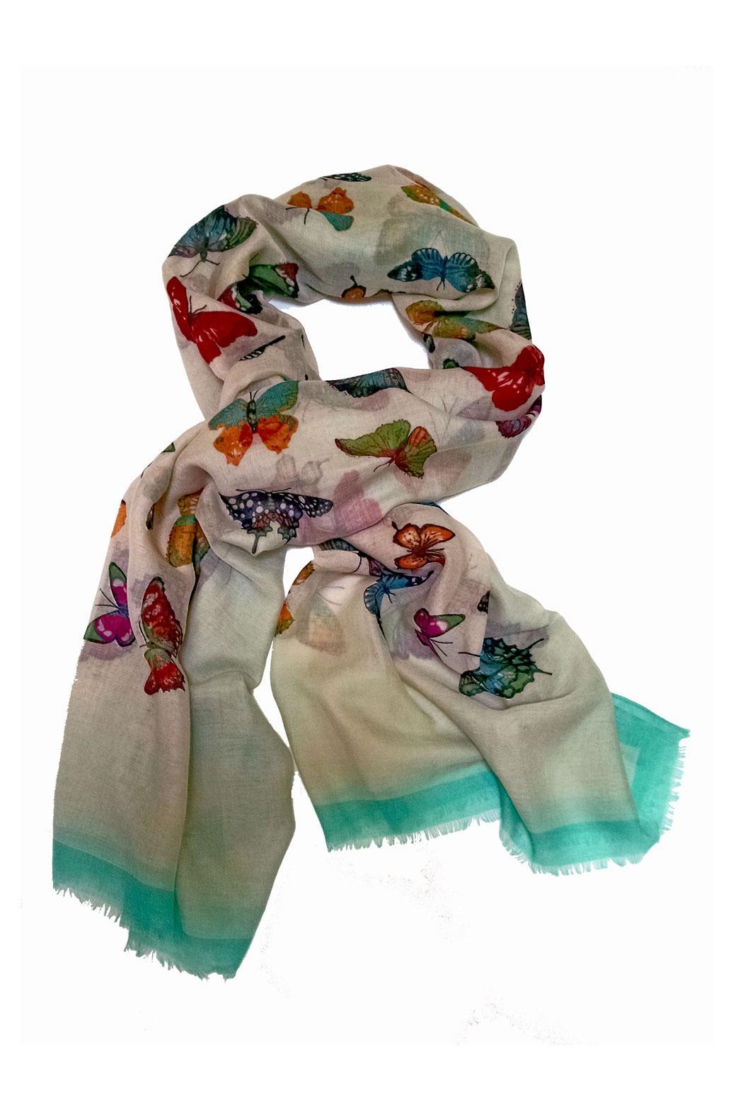 Ganz Colorful Butterfly Scarf - Front Cropped Image