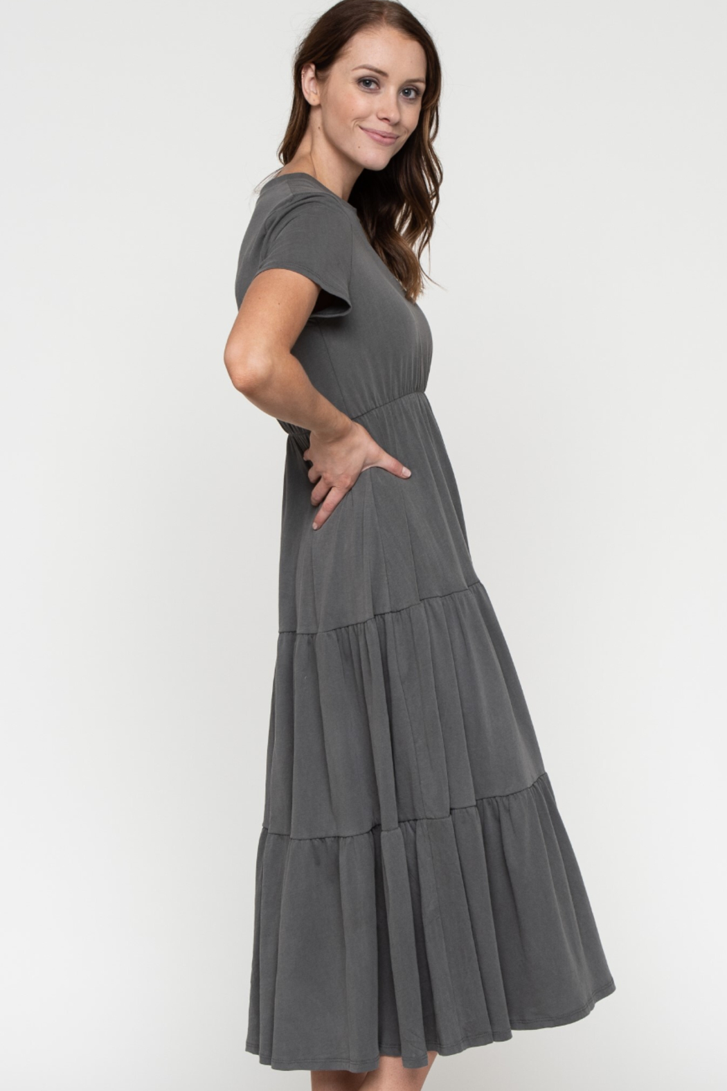 Downeast  Garment Dye Tiered Dress - Front Full Image