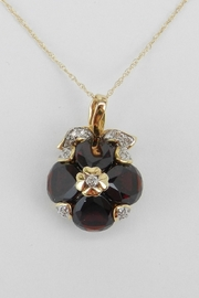 Margolin & Co Garnet and Diamond Necklace Pendant 14K Yellow Gold 18