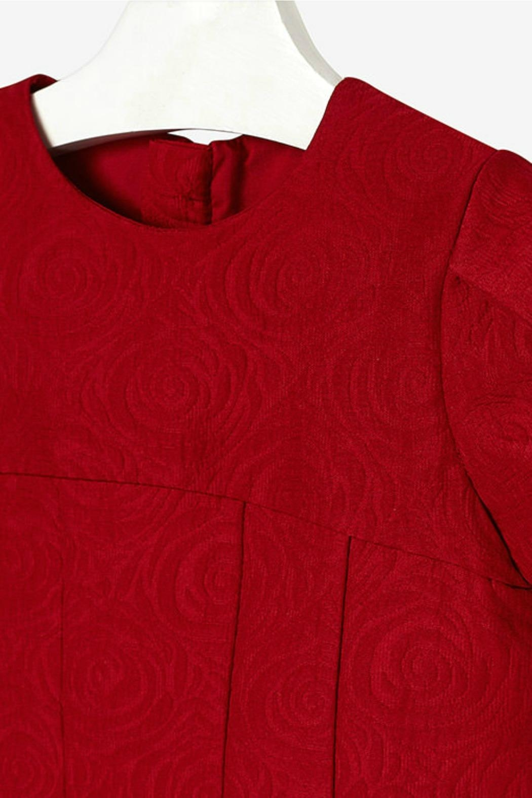 Mayoral Garnet-Red-Jacquard-Textured Dress - Side Cropped Image