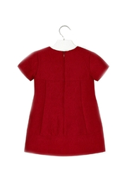 Mayoral Garnet-Red-Jacquard-Textured Dress - Front full body