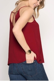 She + Sky Garnet Strappy Tank - Front full body