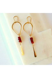 LINDA TRENT JEWELRY GARNET TEARDROP EARRINGS - Product Mini Image