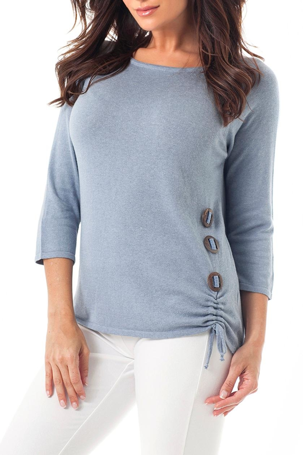 Angel Apparel Gathered Button Top - Main Image