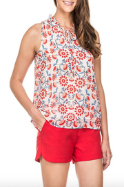 Jade Gathered Neck Floral Tie Top - Product Mini Image