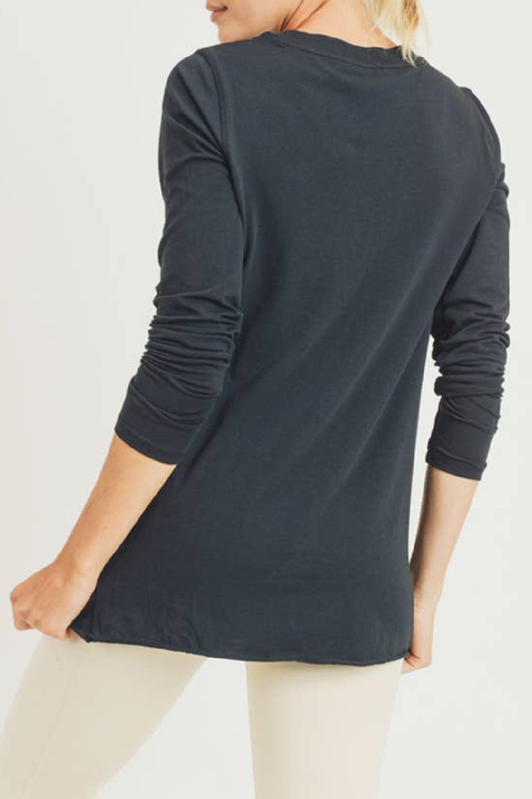 Mono B Gathered Pullover Top - Front Full Image