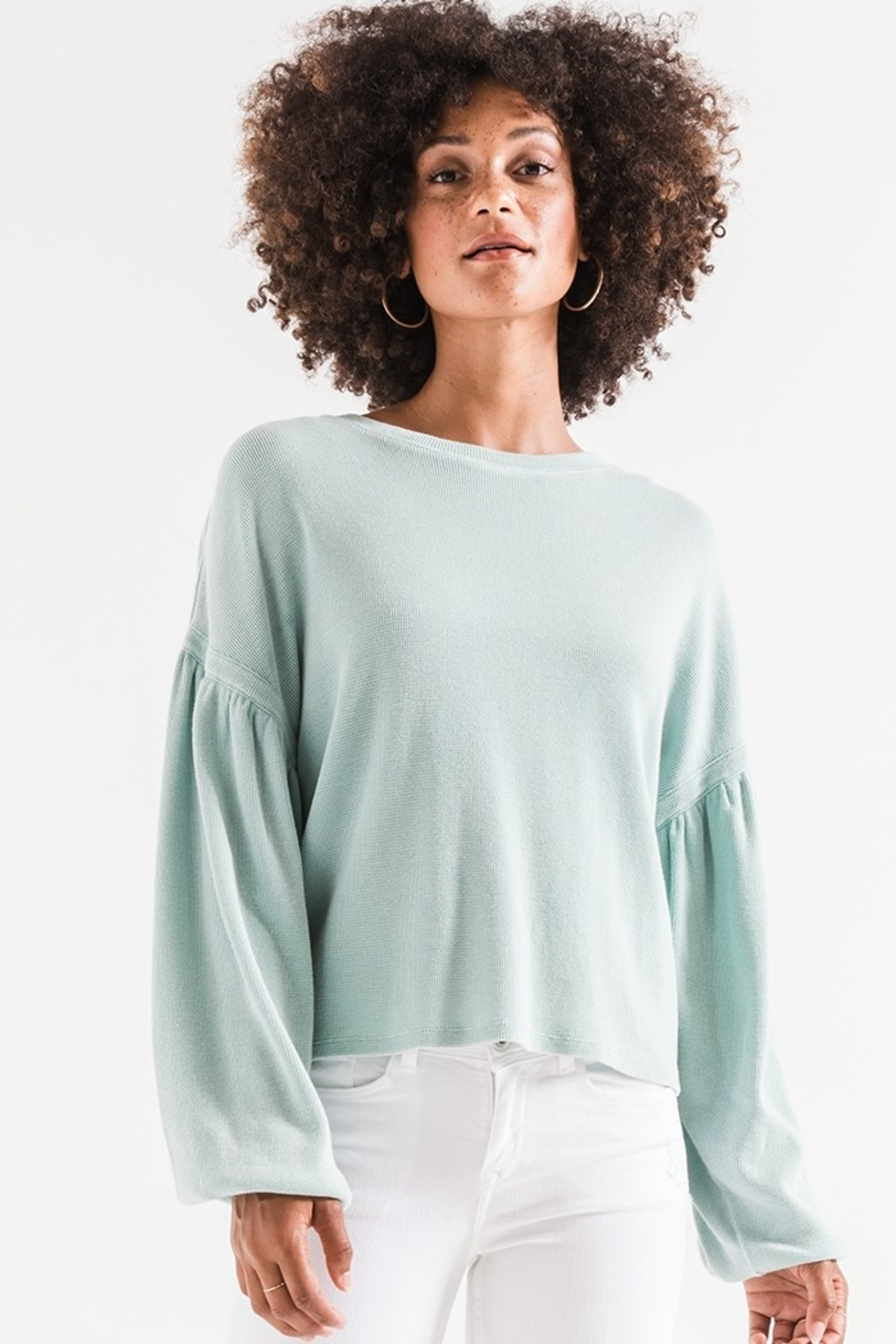 z supply Gathered Sleeve Waffle Top - Front Full Image