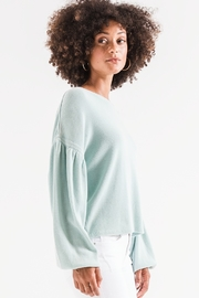 z supply Gathered Sleeve Waffle Top - Front cropped
