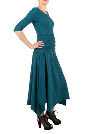 Magdalena Gathered Teal Top - Front full body