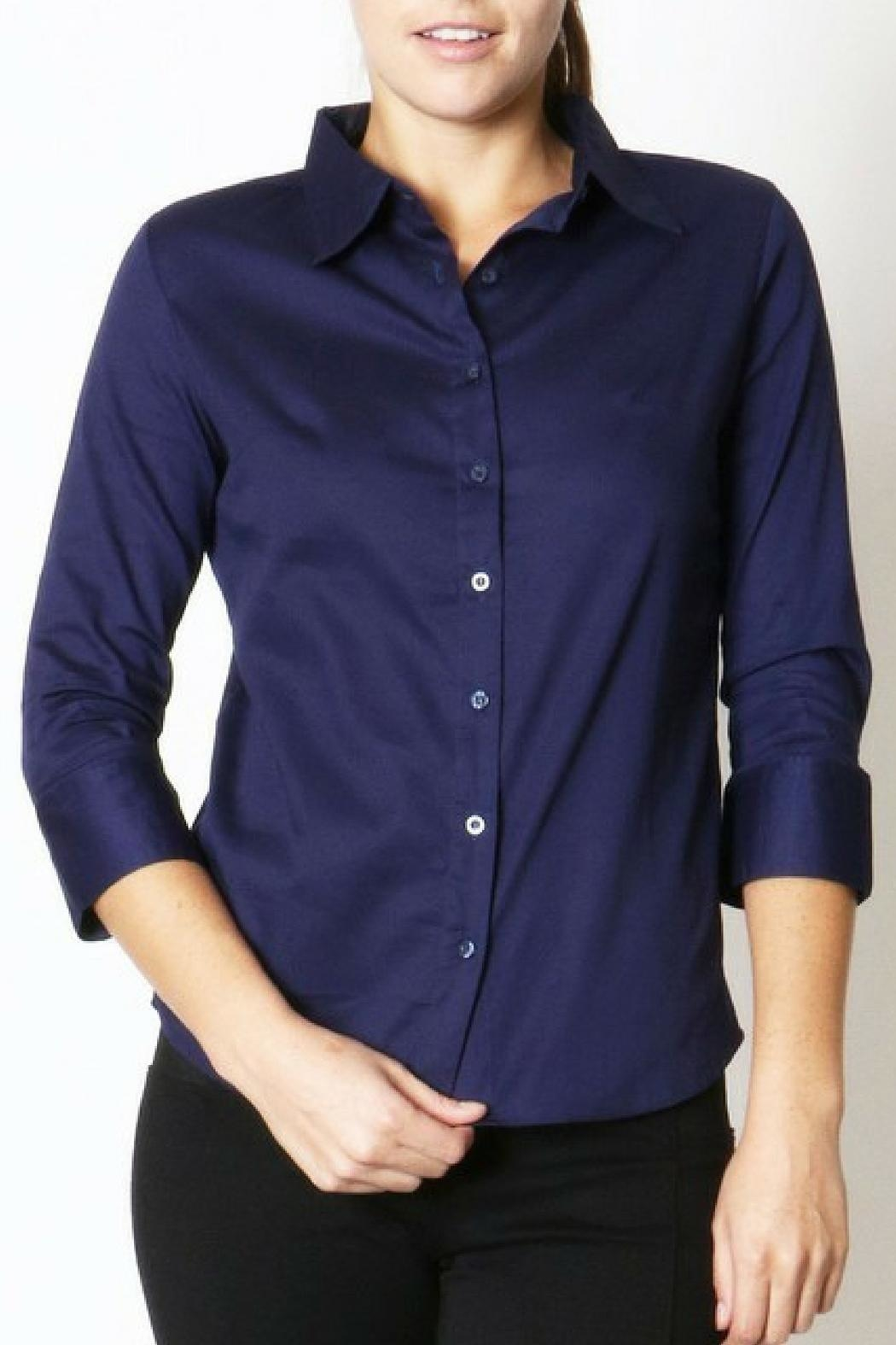 Zenana Outfitters Navy Button-Up Blouse - Main Image