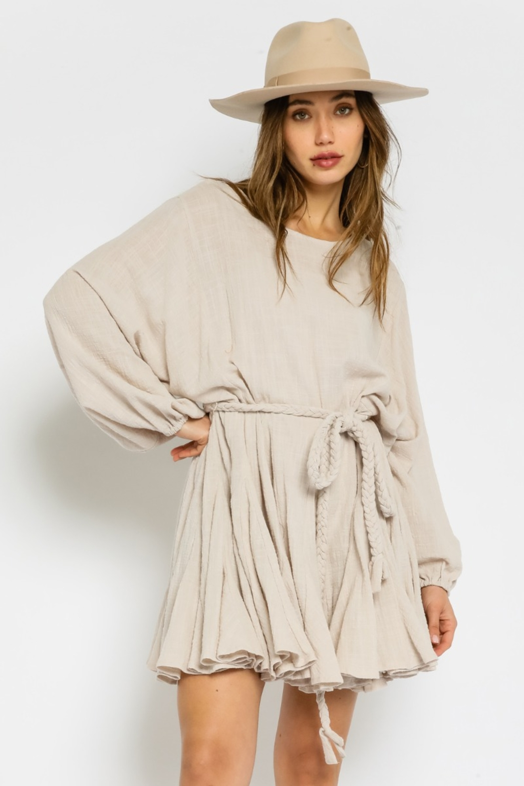 Olivaceous  Gauze Braided Belted Dress - Main Image