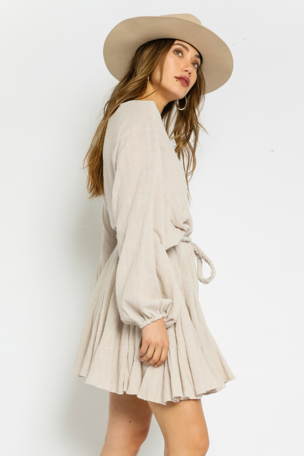 Olivaceous  Gauze Braided Belted Dress - Front Full Image